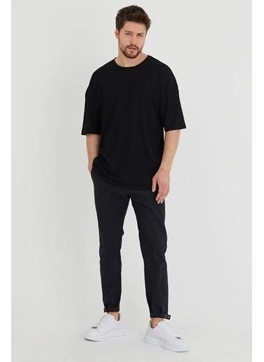 XHAN Taba Waffle Kumaş Salaş T-Shirt 1Kxe1-44632-30 Siyah